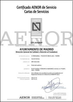 Certificaciones aenor de cartas de servicio ayuntamiento de madrid - Oficinas de atencion a la ciudadania linea madrid ...