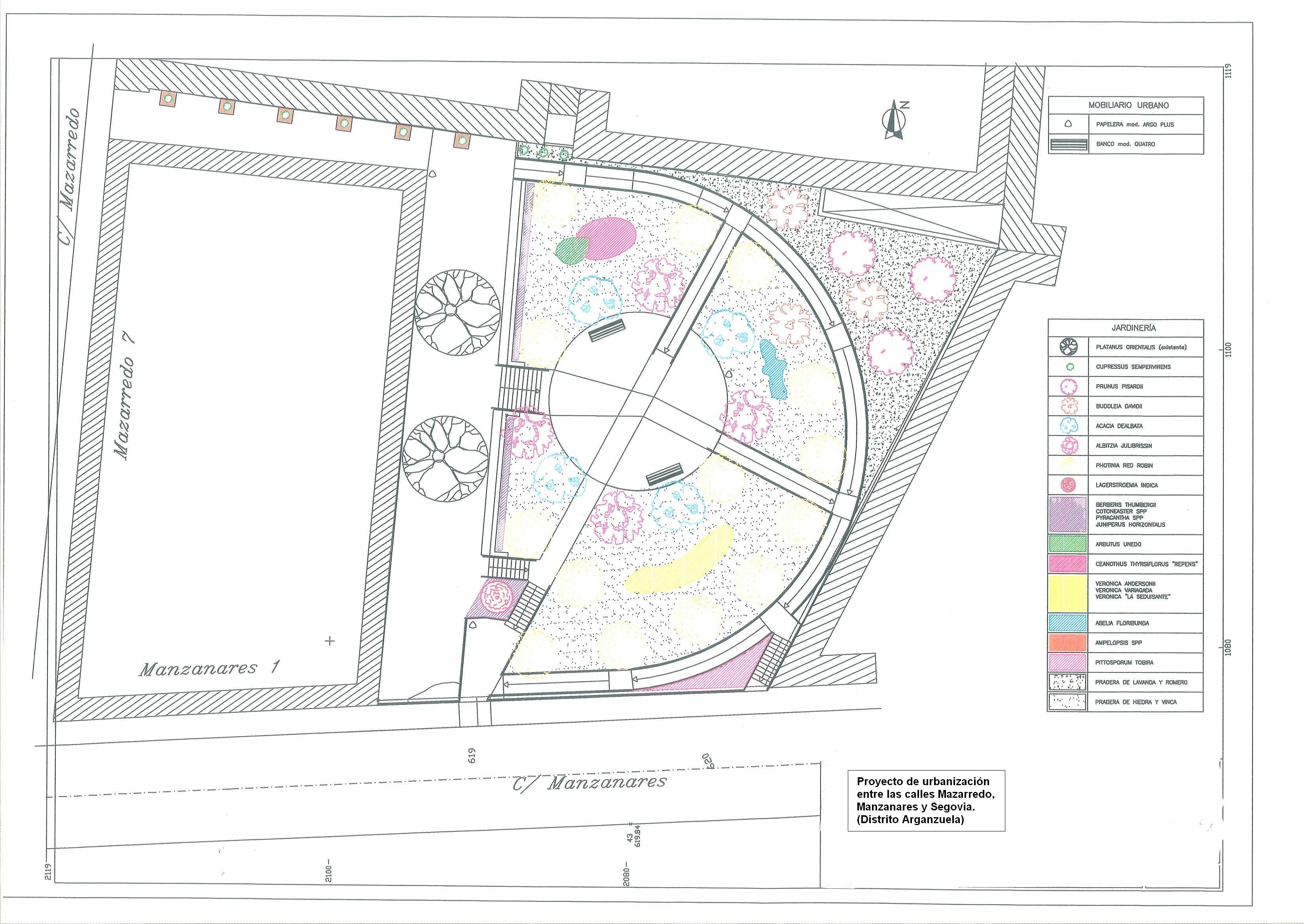 Nueva plaza en arganzuela sostenible y accesible for Mobiliario para planos