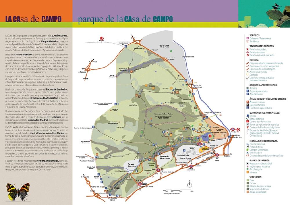 Rutas por el interior de la casa de campo ayuntamiento - Mapa de la casa de campo ...