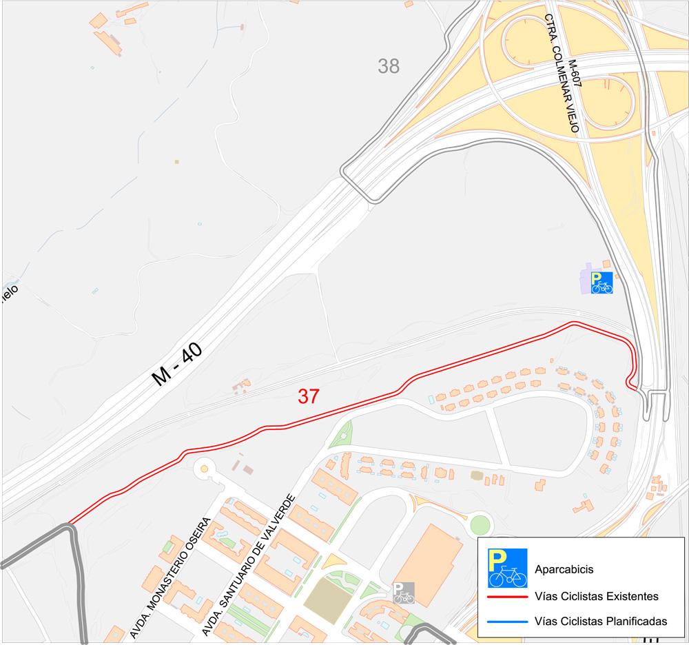 37 v c enlace anillo verde con v c ctra de colmenar - Anillo verde ciclista madrid mapa ...